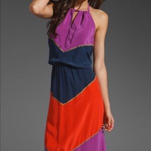 BCBG | Dee Silk Colorblock Maxi Dress